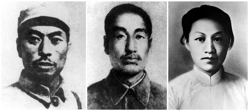杨靖宇(左),赵尚志(中),赵一曼(右)。